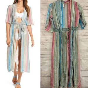 Elan rainbow striped boho tie cover up maxi dress